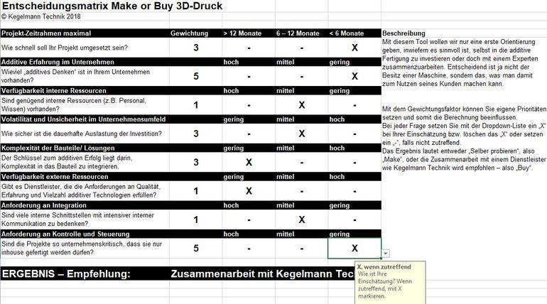Entscheidungsmatrix 3d-druck-verfahren Kegelmann