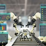 iot_industry_4.0_concept.Smart_factory_using_automation_robotic_arms_with_augmented_mixed_virtual_reality_technology_to_show_data_with_artificial_intelligence_user_interface_(ui)_while_operation_line