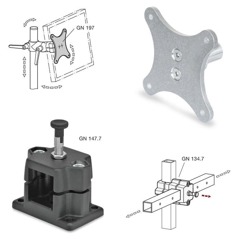 Rohrklemmverbinder Rastschlitten ganter Monitorhalterungen