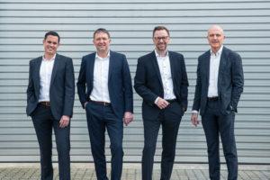 Das Seepex-Führungsteam (v. l. n. r.): Alexander Kuppe, Dr. Bernd Groß, Dr. Christian Hansen und Ulli Seeberger
