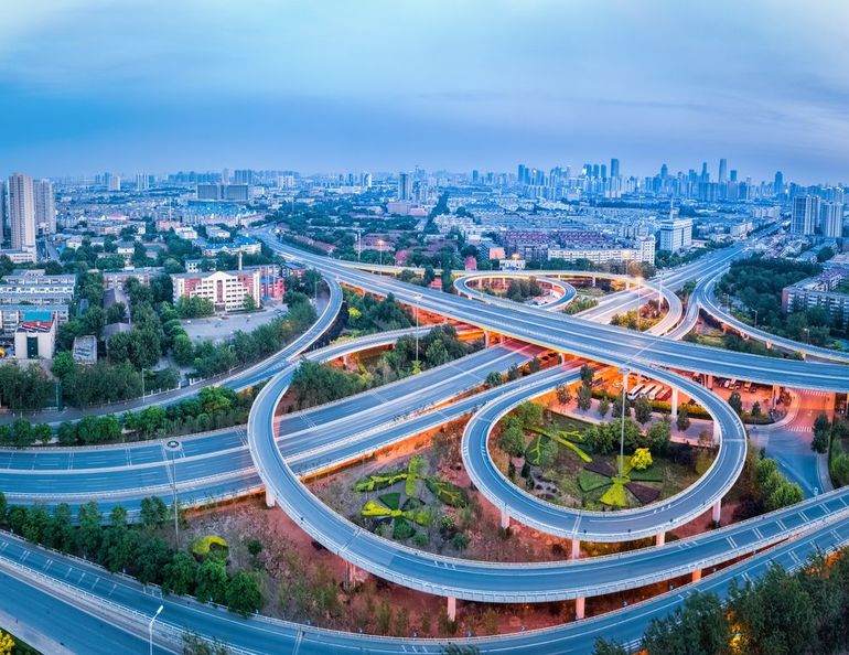 aerial_view_of_city_interchange_in_tianjin,_panorama_of_highway_junction